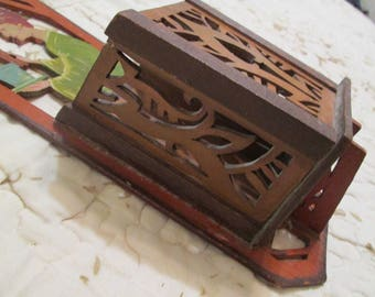 Antique 1800's Wall Match Holder Religious Church Priest Hand Made Hand Painted Primitive Folk Art