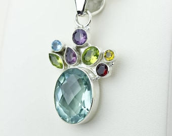 Light Pale Green APATITE Peridot Garnet Citrine 925 S0LID Sterling Silver Pendant + 4MM Snake Chain p4187