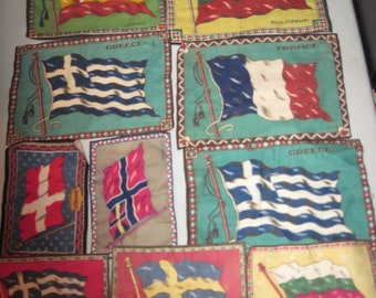 12 Antique Tobacco Felts with Flags