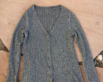 The Vintage Chrome Silver Lurex Cardigan Sweater