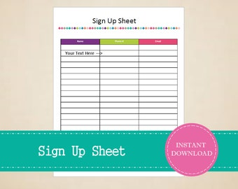 Sign Up Sheet - Printable and Editable - INSTANT PDF DOWNLOAD
