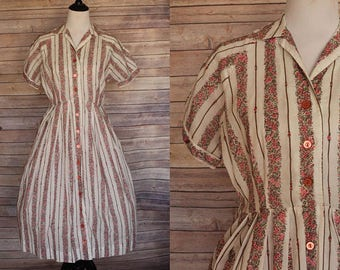 1950s Striped Day Dress
