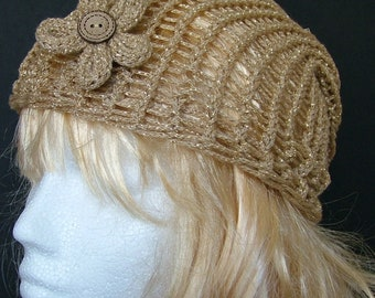 Gold Knitted Slouchy Beanie Hat with Detachable Flower Brooch, Woman's Festival Hat, Spring and Summer Beanie, Flower Hat,