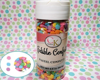 Pastel Colors Confetti 2.4 oz.  Edible Confetti Sprinkles Cake Pops Cupcake Cookies Ice Cream Easter