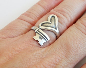 Steampunk Skeleton Key Heart Ring Key To My Heart Sterling Silver Ox Finish Solid Heart