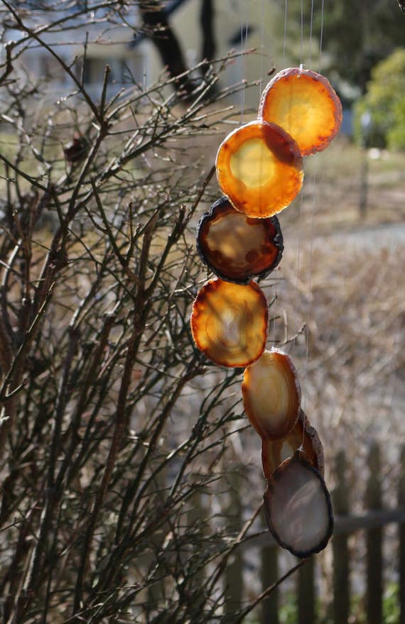 Large Agate Wind Chimes, Hanging Crystal Mobile, Agate Slice, Crystal Wind Chime, Polished Agate, Boho, Agate Mobile, Housewarming Gift