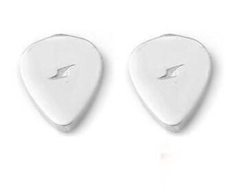 Guitar Pick Stud Earrings Petite, Guitar Pick Studs, Guitar Pick Stud Earrings, Silver Guitar Pick Studs