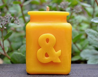 Ampersand Yellow Beeswax Candle, Mix and match to spell words, All Letters Available, Corporate Gift Giving, Hostess Gift, Housewarming Gift