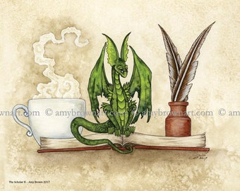 5x7 The Scholar bookworm dragon PRINT by Amy Brown