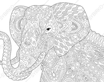 Elephant. Coloring Pages. Animal coloring book pages for Adults. Instant Download Print