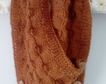 Handknitted cowl neckwarmer scarf with buttons