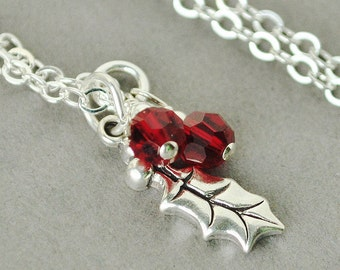 Holly Necklace, Sterling Silver Holly Leaf Charm Necklace, Christmas Necklace, Holiday Jewelry