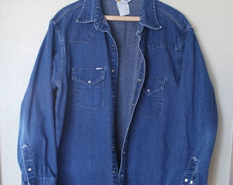 vintage western blue jean pearl snap chambray denim shirt