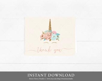Blush Unicorn Baby Shower Thank You Card   DIY Printable Digital File   Floral Magical Pink Blush Birthday    DC018