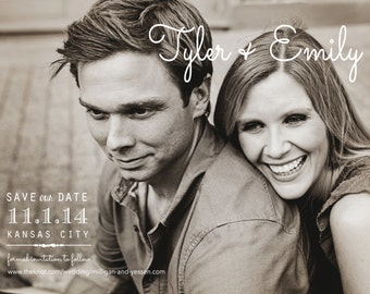 Black and White Save the Date Cards - Engagement Announcements - Electronic Print File for Printing on your Own