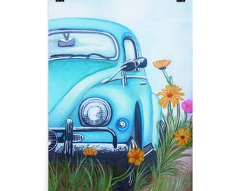 Retro blue Beetle poster/ beetle art print/ vintage car decor/hippie inspired wall art