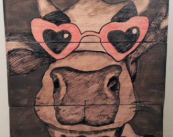 Cow With Heart Shaped Glasses Painted on Barn Wood