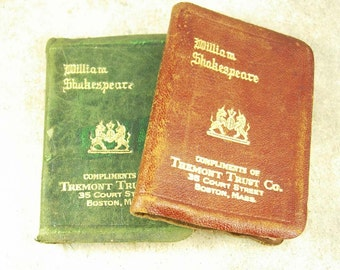 2 MINIATURE leatherbound Shakespeare Books King Henry 1V advertising bank with history