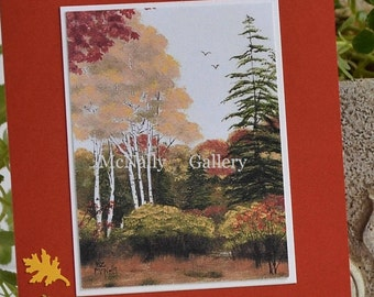 Fall Card Landscape Greeting card,Sympathy card Print of original art