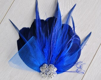 Royal Blue Feather Fascinator Hair Clip Downton Abbey 1920's flapper headpiece Great Gatsby, Feather bridal fasciantor feather hair piece