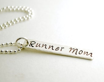 Runner Mom Hand Stamped Necklace Run Jewelry Sterling Silver