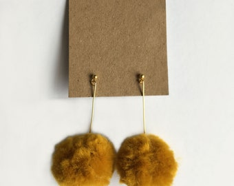 Pom-pom earrings- (Mustard)