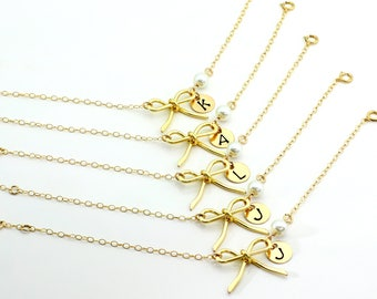 Free Shipping, Set of 5 Personalized Bow Bracelets, Gold Filled Bow Bracelet, handmade, monogram bracelet, gift for her, Christmas gift