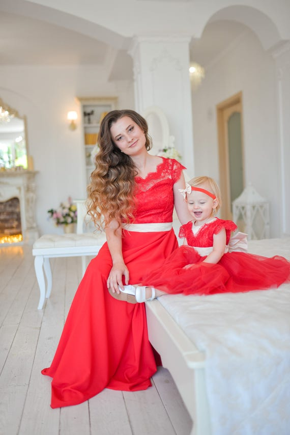 Rouge dentelle m re fille assortie robe robes robe tutu maman - Ensemble mere fille ...