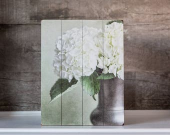 Wood Signs: Rustic Farmhouse Flower Print on Wood Planks, Hydrangea Cream Ivory Tan, Living Room Decor, Bedroom Decor, Bathroom Decor.