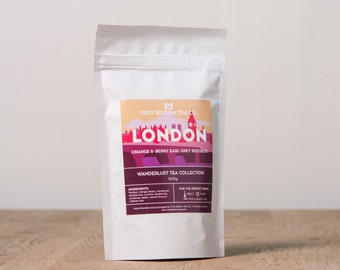 London Loose Leaf Tea Blend - Orange and Berry Earl Grey Rooibos Caffeine Free Herbal Tea - 100g bag