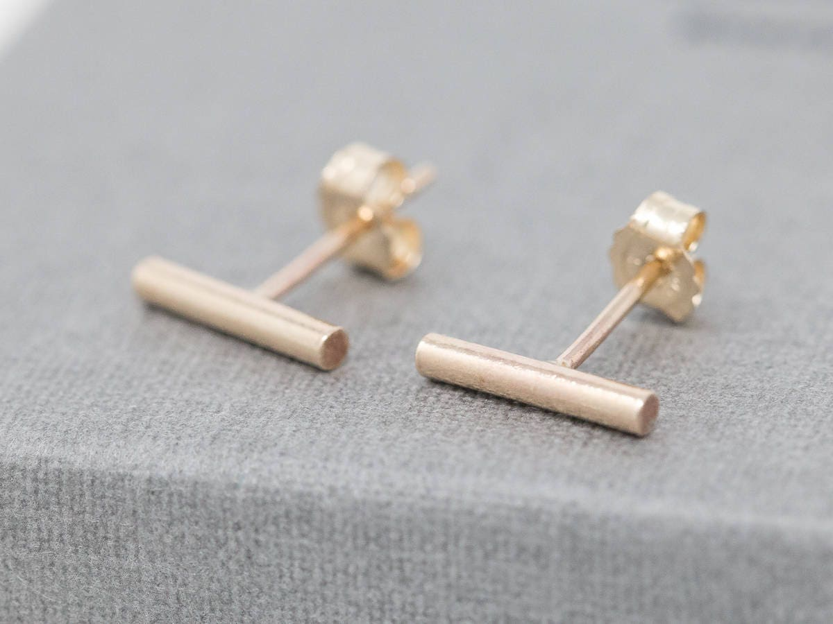white products stud bar small in earring earrings solid rybelo gold