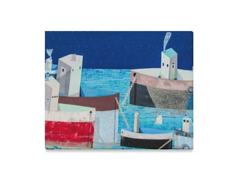 """Moored Boats Abstract Painting 