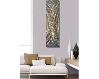 Silver & Gold Modern Metal Wal Art, Abstract Wall Accent, Contemporary Wall Sculpture, Home Decor, Single Panel - Awakening by Jon Allen