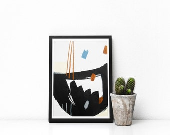 Small Black Abstract Drawing - Small gold black Abstract Art - Small Black Painting - Contemporary Abstract Paintings - Small modern art