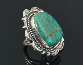 Turquoise Ring Native American Navajo Sterling Silver: Cecil Atencio