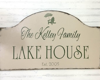 Custom personalized lake house sign, beach house sign,  Mother's Day gift, vacation house getaway decor, lake cottage decor,  custom cabin