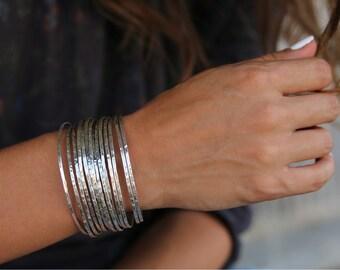 Stacking Bracelets Set, Stacking Bangles, Stacker Bracelets, Stacker Bracelets, Sterling Silver Stacking Bracelet Set Hammered Bracelets Set