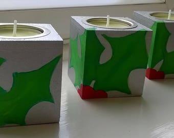 Hand painted Christmas Tea Light Holders