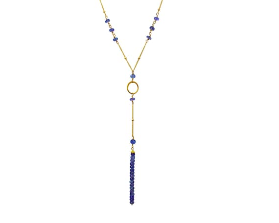 Tanzanite Lariat. Y Necklace.  Personalized Birthstone options. Gemstone Necklace. Gold fill or 925 Sterling Silver NMY-1944