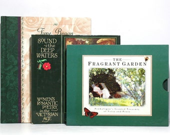 Decorative Books, Poems, Paintings, Gardens, Three Beautifully Illustrated Books, Floating Books, Home Staging, Bookshelf Decor