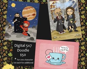 OOAK Custom Digital Doodle Art