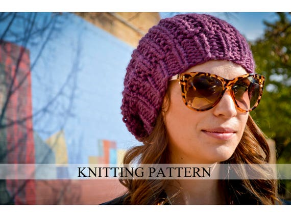 Knit Hat Pattern Knitting Pattern Slouchy Beret Knitted Slouchy