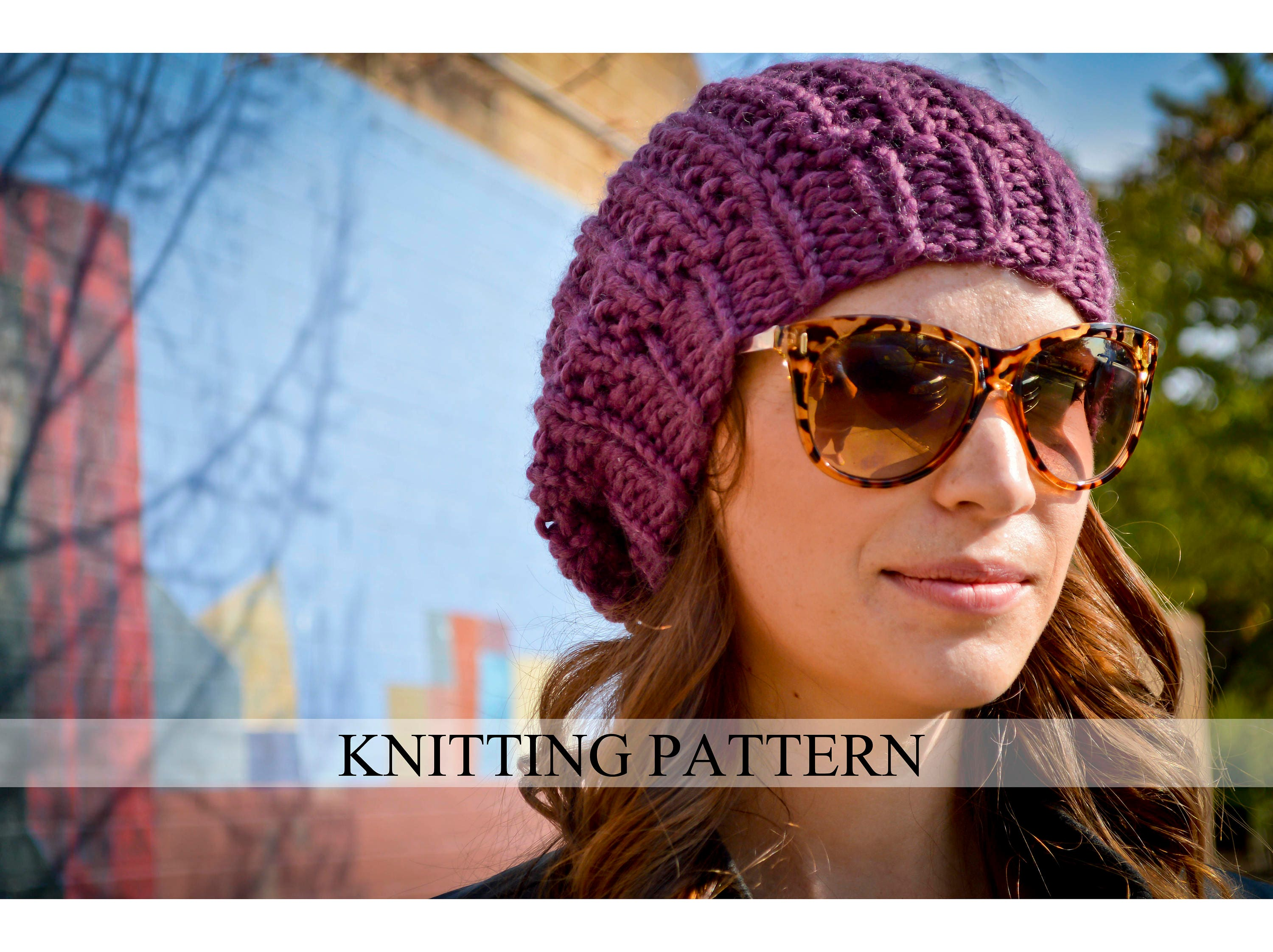 Knit Hat Pattern Knitting Pattern Slouchy Beret Knitted