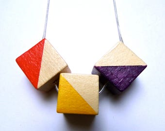 Triangle natural wood statement necklace - hand painted silver chain yellow red purple limited edition square modern