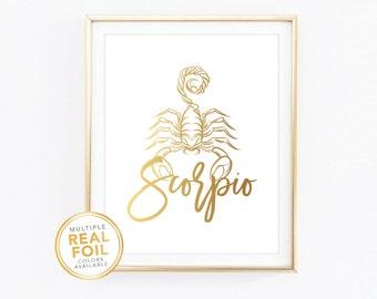 Scorpio Zodiac Sign Constellation - Gold foil print, Real Foil Print, Home Decor, Wall Art, Gallery wall 4x6 5x7 8x10 8.5x11