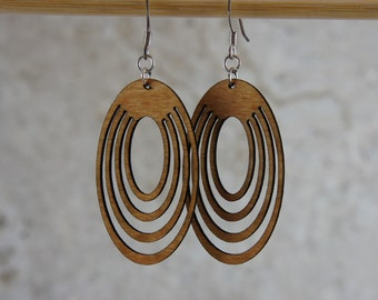 Triple Oval Dangling Earrings- Laser Cut Wood Earrings