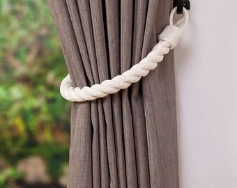 Chunky Ivory White Cotton Rope Curtain Tiebacks Thick Tie-backs Nautical Style Window Treatment Shabby Chic Home Decor Curtain Hold-Backs