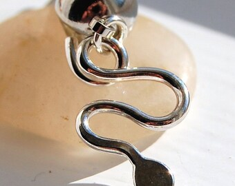 Snake Belly Ring / Belly Jewelry / Dangle Belly Ring / Silver Belly Jewelry / Serpent Body Jewelry / Navel Ring / Navel Jewelry