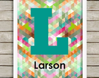 Personalized Geometric Print, Custom Nursery Art, Geometric Initial, Family Room Art, Custom Name Print, Modern Letter Art, Wedding Gift
