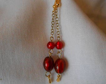 BO 474 - Earrings red and gold
